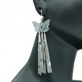 Boucles d'oreilles Papillon Filigranes en Métal Argenté BFPLL003-Argenté