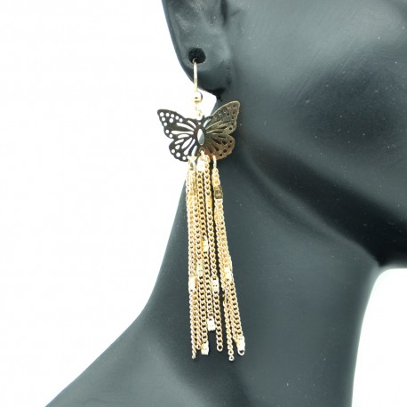 Boucles d'oreilles Papillon Filigranes en Métal Doré BFPLL03-Doré