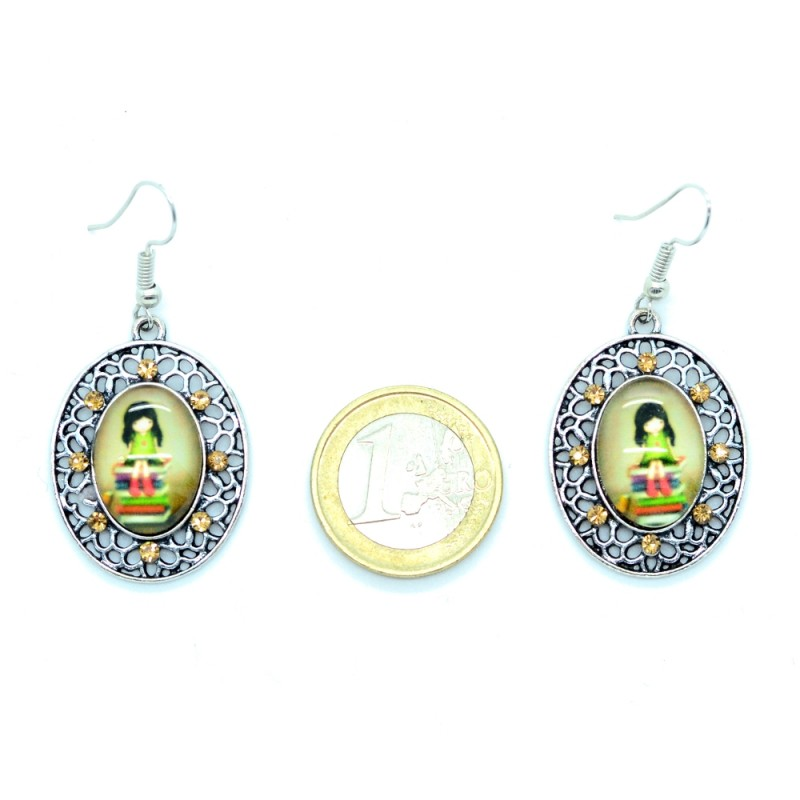 boucles d 39 oreilles cabochon en verre petite fille bfpvm005 boucles d 39 oreilles and co. Black Bedroom Furniture Sets. Home Design Ideas