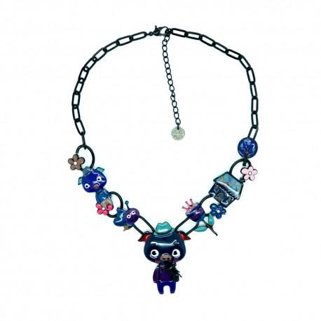 Collier LOL Bijoux Les trois petits cochons CoLOL013-bleu