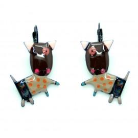 Boucles d'oreilles LOL Bijoux Le chien BFLOL027-Marron