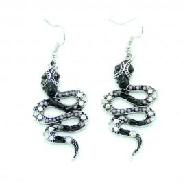 Boucles d'oreilles Argentées Serpent BFPAM011-noir
