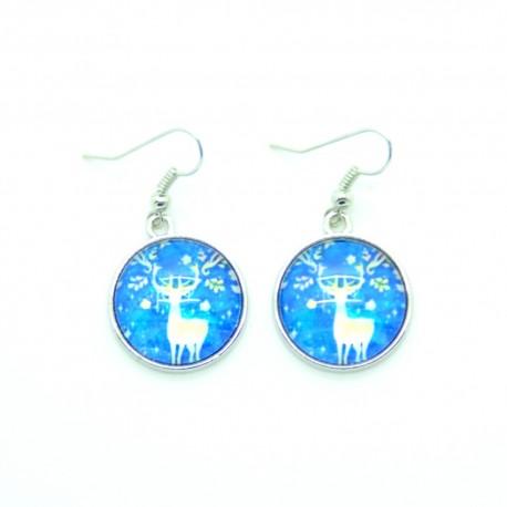 Boucles d'oreilles Cabochon en verre Le Cerf Bleu BFPVM009