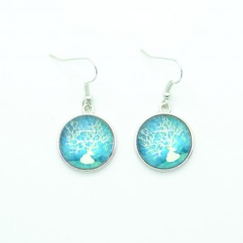 Boucles d'oreilles Cabochon en verre Bleu BFPVM013