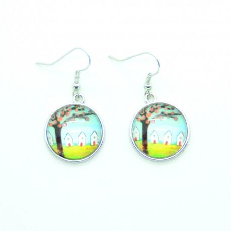 Boucles d'oreilles Cabochon en verre L'arbre et les maisons BFPVM018