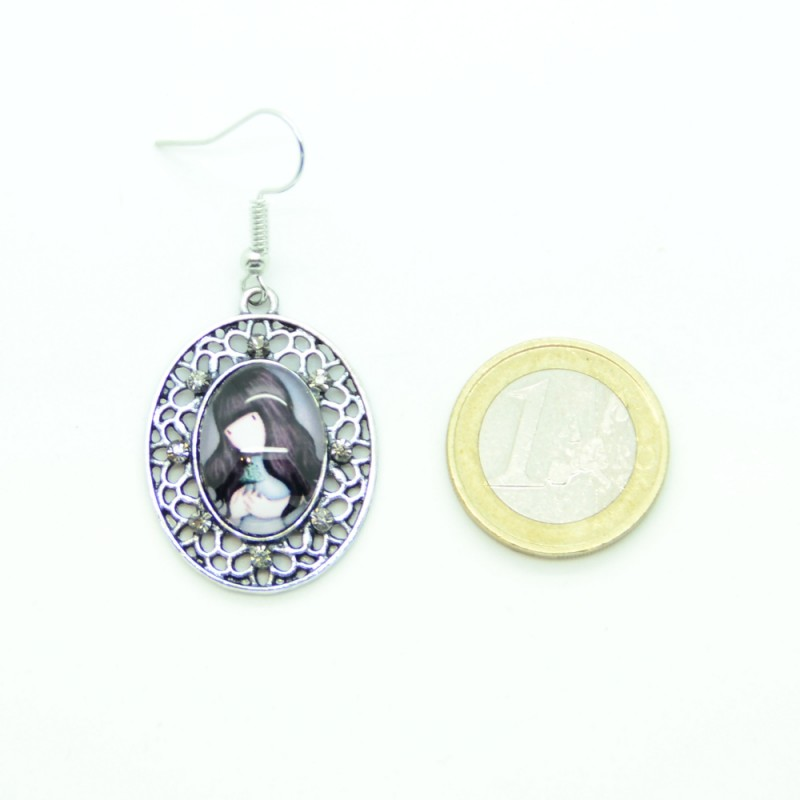 boucles d 39 oreilles cabochon en verre petite fille bfpvm024 boucles d 39 oreilles and co. Black Bedroom Furniture Sets. Home Design Ideas