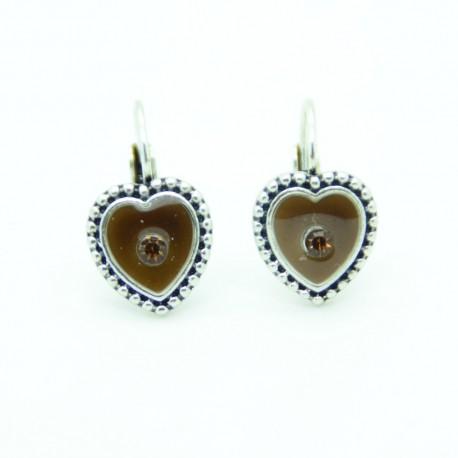 Boucles d'oreilles Dormeuse émaillée Coeur BFDEC009-marron