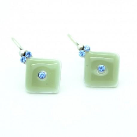 Boucles d'oreilles Dormeuse émaillée Fleur BFDEC010-gris