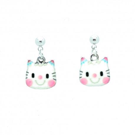Boucles d'oreilles Emaillées genre Hello Kitty BFCEM004