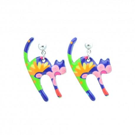 Boucles d'oreilles Emaillées Le chat BFCEM007