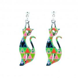 Boucles d'oreilles Emaillées Le chat BFCEM008