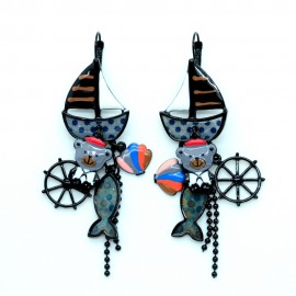 Boucles d'oreilles LOL Bijoux La Mer Le bateau La plage BFLOL042-noir