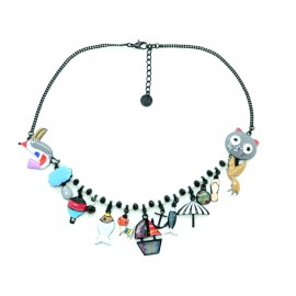 Collier LOL Bijoux Le chat pêcheur COLOL031-gris