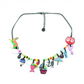 Collier LOL Bijoux Le chat pêcheur COLOL031-rouge