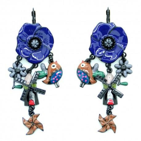 Boucles d'oreilles LOL Bijoux LOLILOTA Le Coquelicot Le moulin BFLOL063-bleu