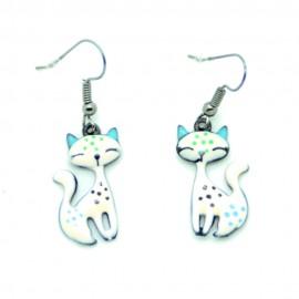 Boucles d'oreilles Emaillées le petit chat BFPEM008-Rose pale