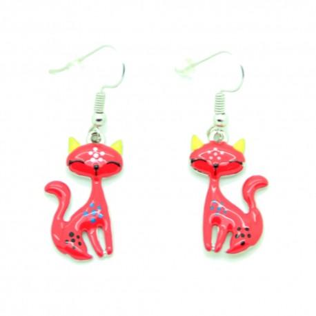 Boucles d'oreilles Emaillées le petit chat BFPEM008-Rouge