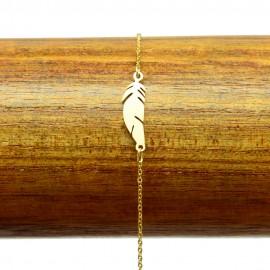 Bracelet Acier 316L Plume ciselé chaine fine Charm Réglable BRA004-Doré