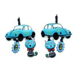 Boucles d'oreilles LOL Bijoux LOLILOTA Coccinelle VW BFLOL073-bleu