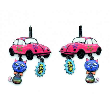 Boucles d'oreilles LOL Bijoux LOLILOTA Coccinelle VW BFLOL073-fushia