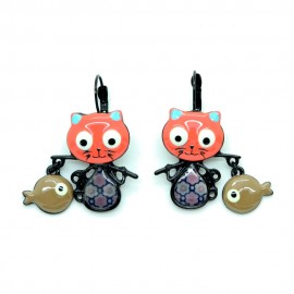 Boucles d'oreilles LOL Bijoux LOLILOTA Le chat pêcheur Poisson BFLOL053-orange
