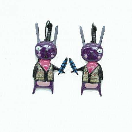 Boucles d'oreilles LOL Bijoux LOLILOTA Lapin Crétin BFLOL079-violet