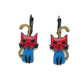 Boucles d'oreilles LOL Bijoux LOLILOTA Le chat bleu et rouge assis BFLOL085