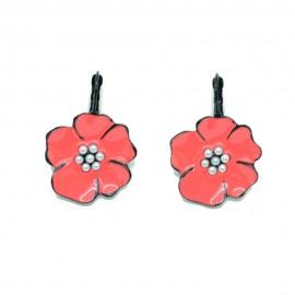 Boucles d'oreilles LOL Bijoux LOLILOTA Fleur rose et perle BFLOL087