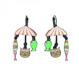 Boucles d'oreilles LOL Bijoux LOLILOTA Parasol le chat et les poissons BFLOL084-orange