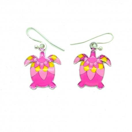 Boucles d'oreilles Emaillées la petit tortue BFPEM009-rose