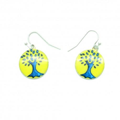 Boucles d'oreilles Emaillées l'arbre de vie BFPEM010-jaune