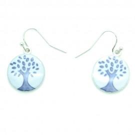 Boucles d'oreilles Emaillées l'arbre de vie BFPEM010-blanc