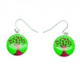 Boucles d'oreilles Emaillées l'arbre de vie BFPEM010-vert