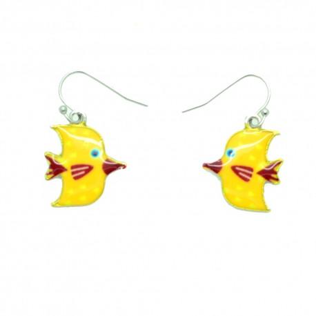 Boucles d'oreilles Emaillées le petit poisson BFPEM011-jaune