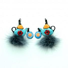Boucles d'oreilles LOL Bijoux LOLILOTA La theiere bleu et pompon gris BFLOL088-bleu