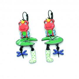 Boucles d'oreilles LOL Bijoux LOLILOTA Grenouille nenuphar libellule BFLOL091-rose