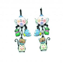 Boucles d'oreilles LOL Bijoux LOLILOTA La Theiere le chat et la souris BFLOL092-rose