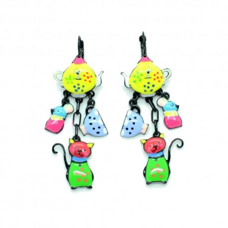 Boucles d'oreilles LOL Bijoux LOLILOTA La Theiere le chat et la souris BFLOL092-multi