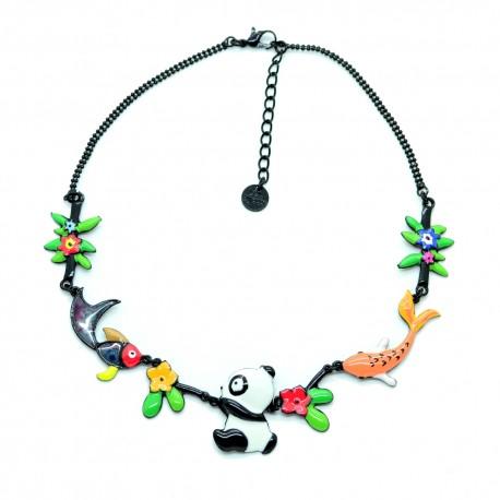 Collier LOL Bijoux LOLILOTA Au pays des Pandas poissons fleurs COLOL044