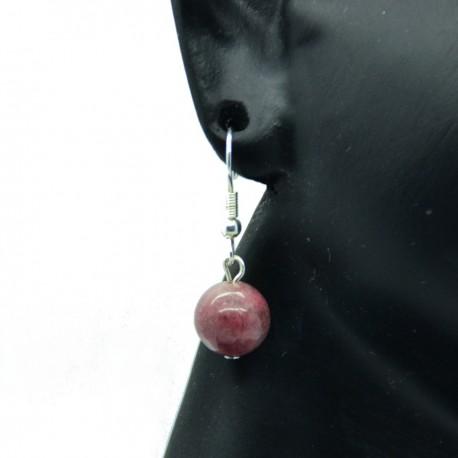 Boucles d'oreilles en Rhodonite crochets acier chirurgical 316l BAPPC006-Rose