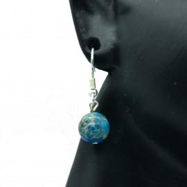 Boucles d'oreilles en Chyscolla sur crochets acier chirurgical BAPPC005-bleu