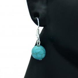 Boucles d'oreilles en véritable Turquoise crochets acier chirurgical 316l BAPPC003-Bleu