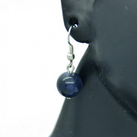 Boucles d'oreilles pierre Lapis Lazuli sur crochets acier chirurgical 316l BAPPC002-Bleu
