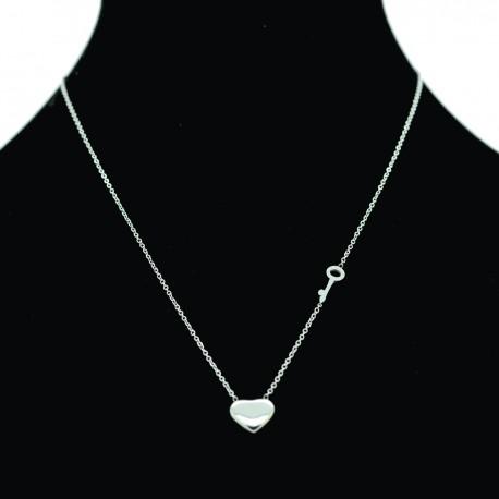 Collier pendentif Acier chirurgical Inox Coeur Charm Réglable Colac010-Argenté