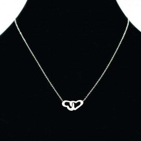 Collier pendentif Acier chirurgical Inox Coeurs entrelacés Charm Colac011-Argenté