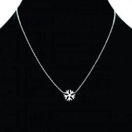 Collier pendentif Acier chirurgical Inox flocon neige Charm Colac014-Argenté