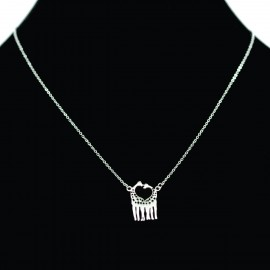 Collier pendentif Acier chirurgical Inox giraffe coeur Charm Colac021-Argenté