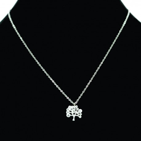 Collier pendentif Acier chirurgical Inox arbre de vie strass Charm Colac022-Argenté