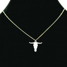 Collier pendentif Acier chirurgical Inox tête de taureau Charm Colac030-Argenté
