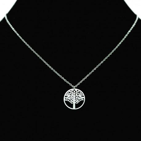 Collier pendentif Acier chirurgical Inox Arbre de vie Charm Colac036-Argenté